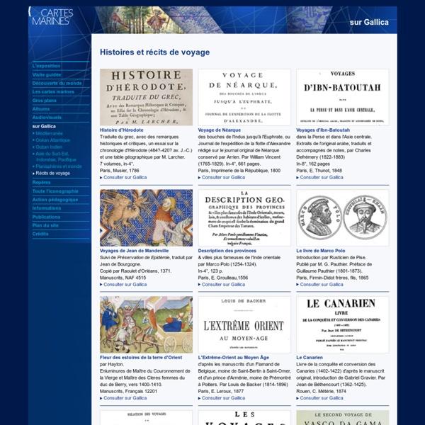 Gallica - Histoires et récits de voyages
