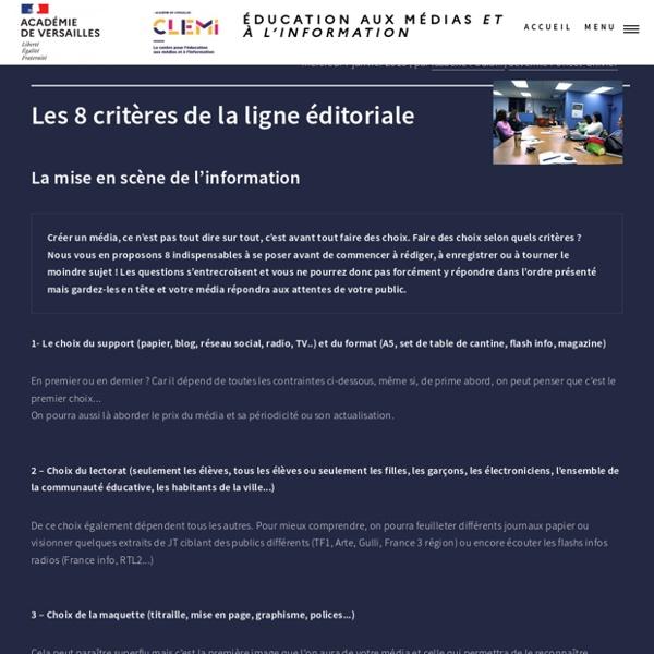 Les 8 critères de la ligne éditoriale