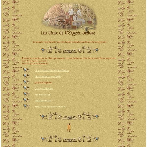 Les dieux de l'égypte antique