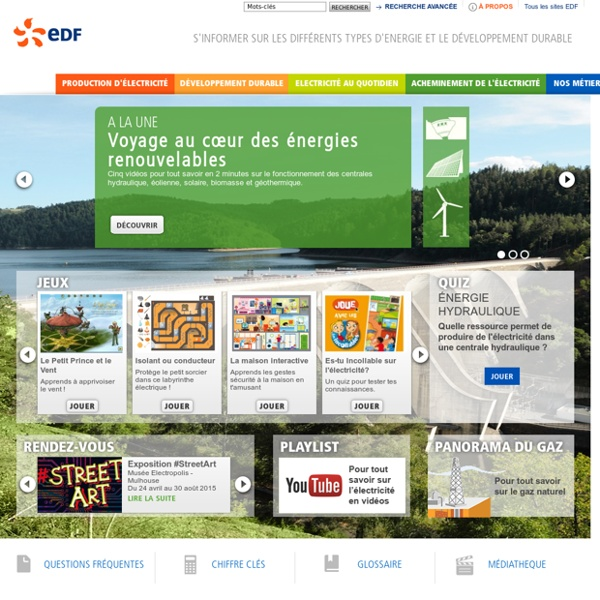 Les différentes énergies - EDF Site jeunes