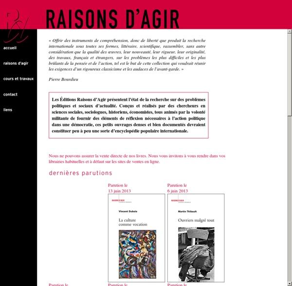 Les Éditions RAISONS D'AGIR