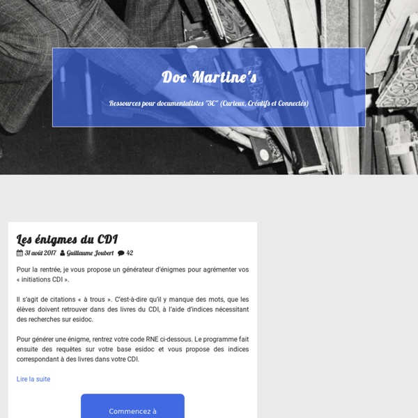 Les énigmes du CDI — Doc Martine's