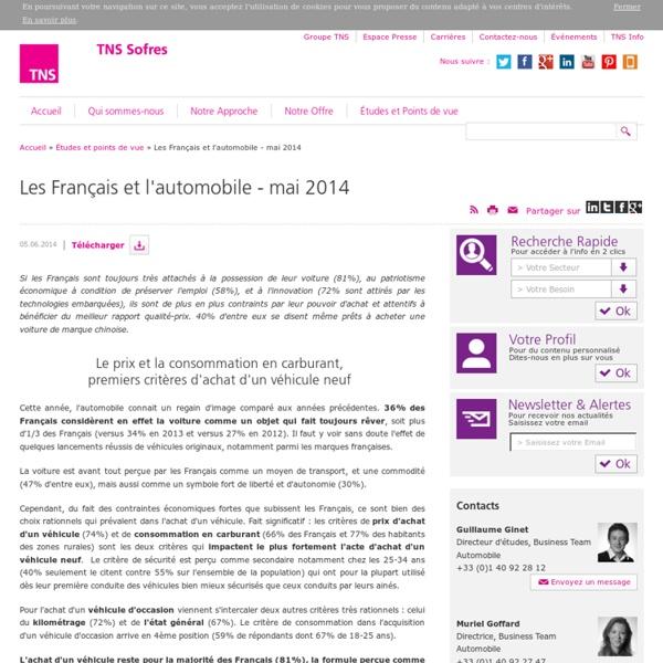 Les Français et l'automobile - mai 2014