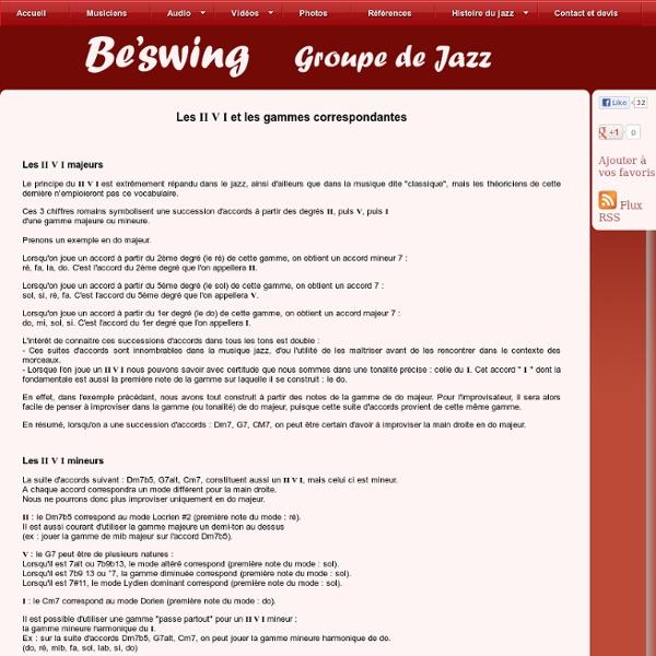 Les suites d'accords utilisés dans le jazz