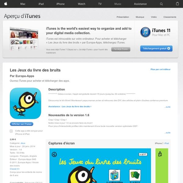 Les Jeux du livre des bruits dans l'App Store