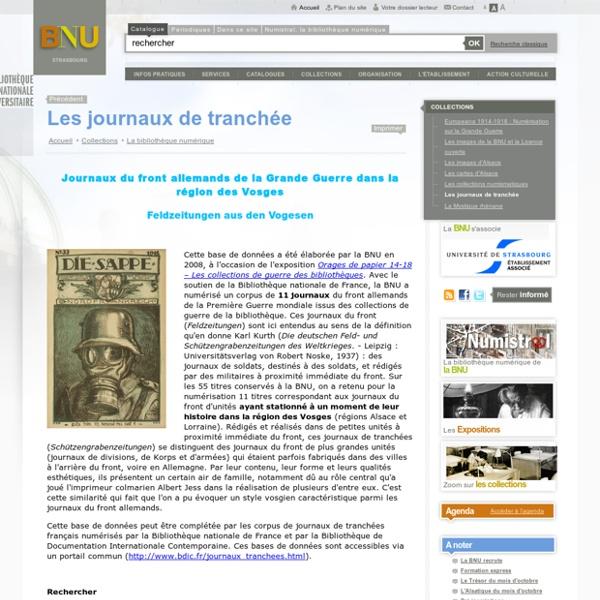 BNU : Les journaux de tranchée