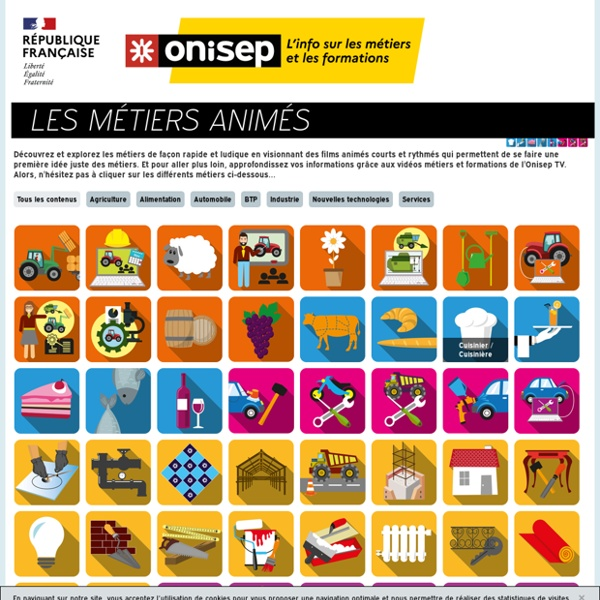 Les métiers animés (ONISEP)