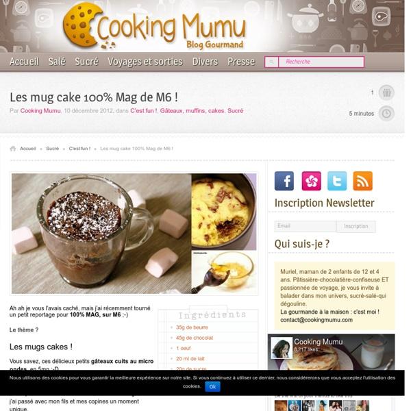 Cooking Mumu Les mug cake et mug cookie sur 100% Mag de M6 !