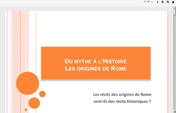 Du mythe à l'histoire: les origines de Rome