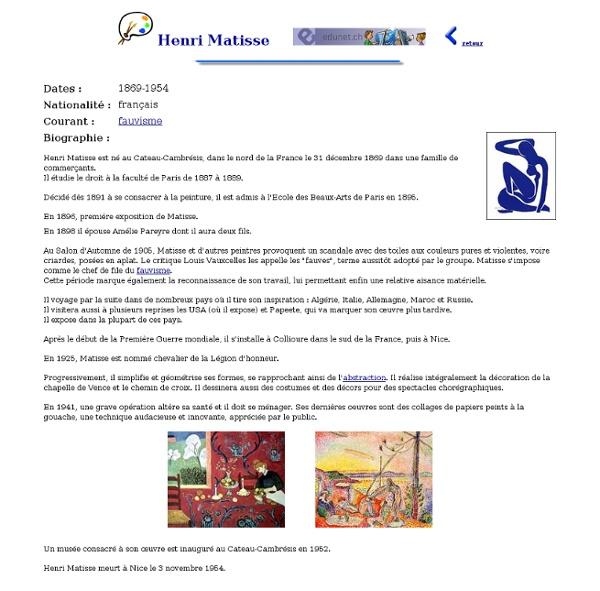 Les peintres : Henri Matisse