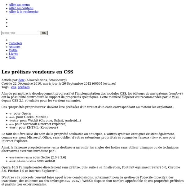 Les préfixes vendeurs en CSS