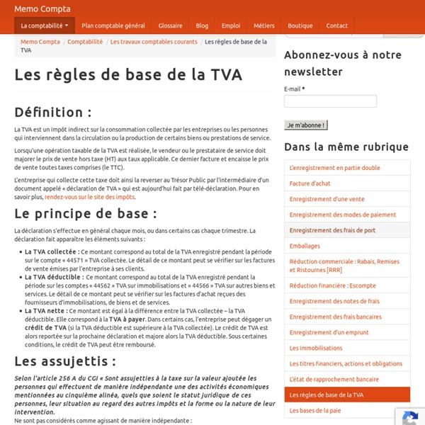 Les règles de base de la TVA