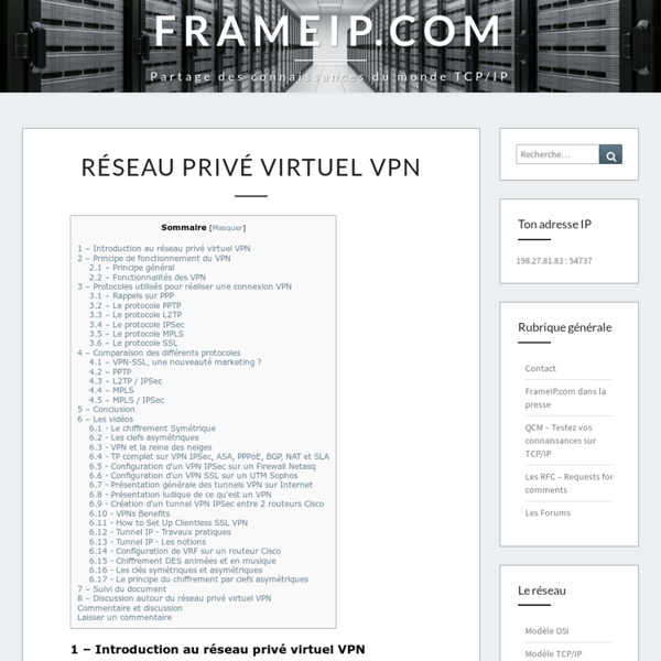 Les Réseaux Privés Virtuels - Vpn