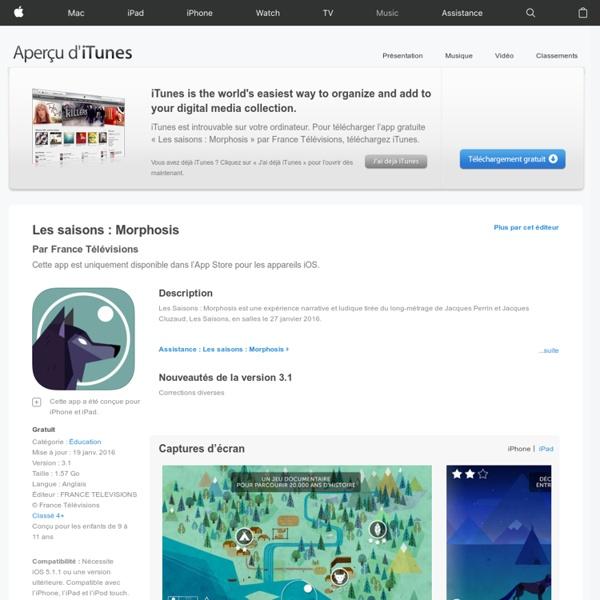Les saisons : Morphosis dans l'App Store