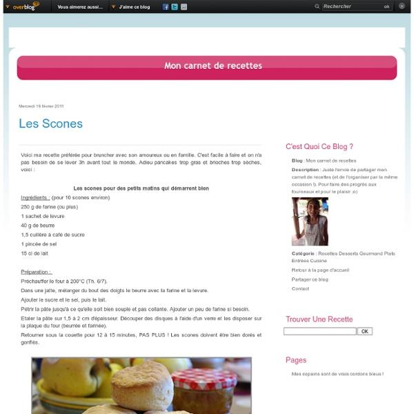 Les scones - Mon carnet de recettes