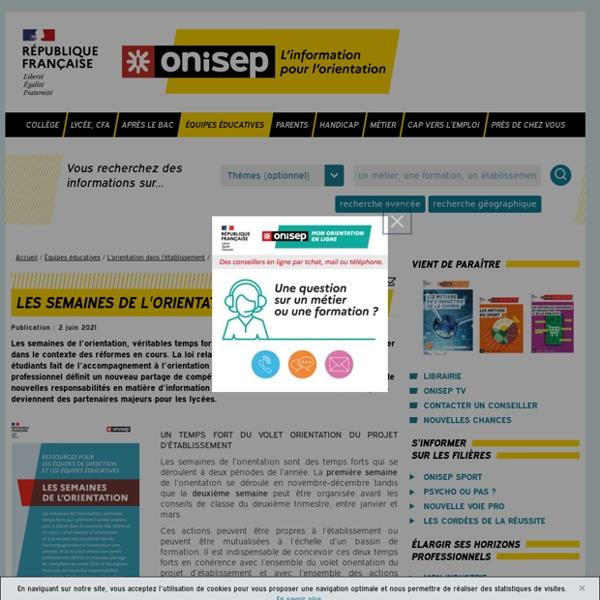 Les semaines de l'orientation - Onisep