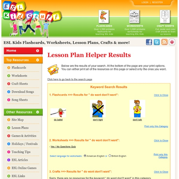 Lesson Plan Helper for ESL kids classes