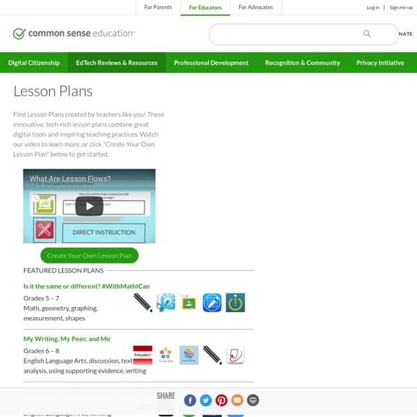 Common Sense Media - Lesson Plans