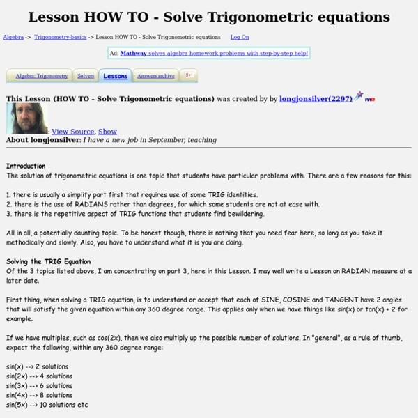 Lesson HOW TO - Solve Trigonometric equations