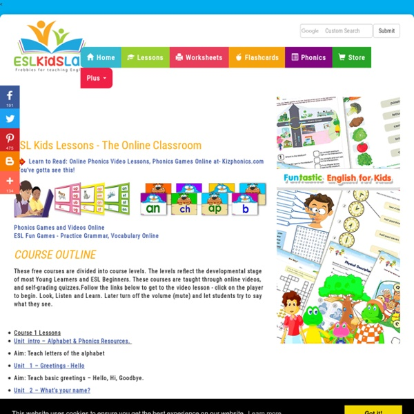 ESL Kids Lessons, ESL Children Lessons, Beginners Online Video Lessons