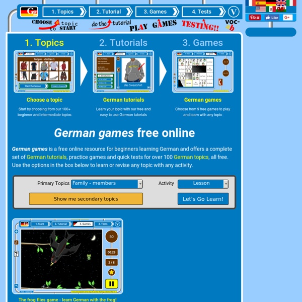 Fun German learner games + tutorials website for kids + adults
