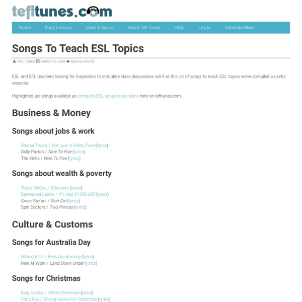 ESL Song Lessons - tefltunes.com - Songs For Discussion