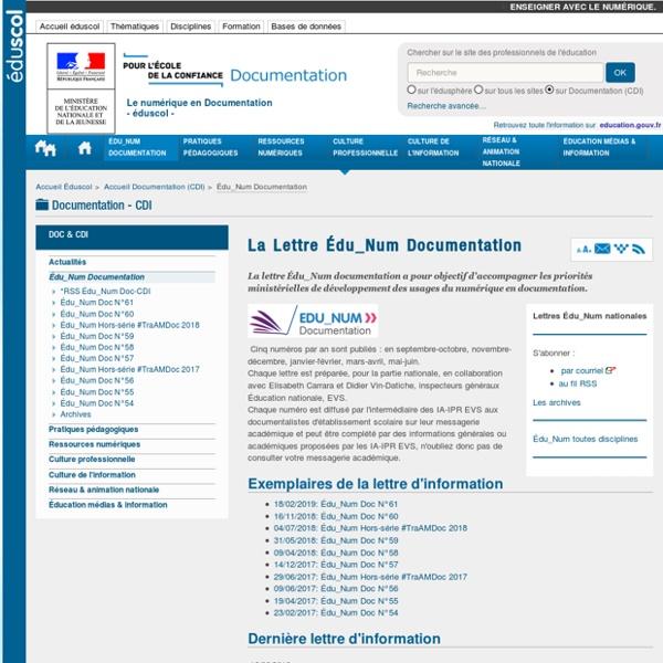 La Lettre Édu_Num Documentation (Eduscol)
