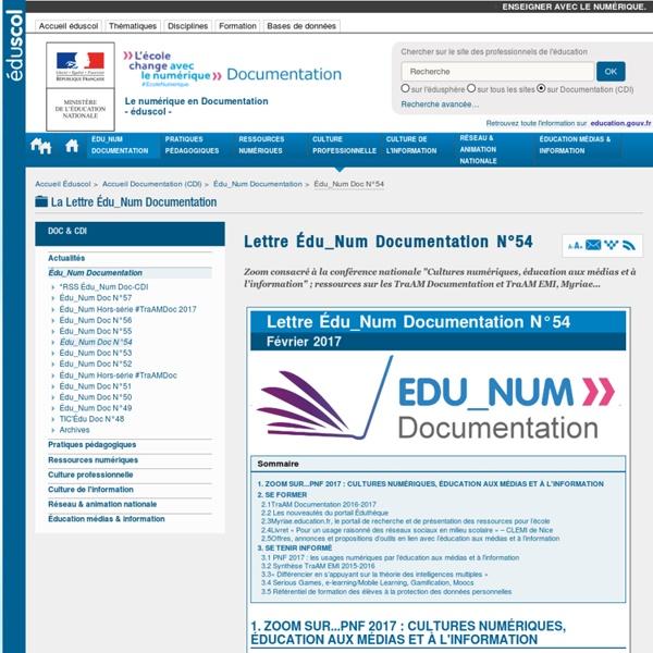 Lettre Édu_Num Documentation N°54 — Documentation (CDI)