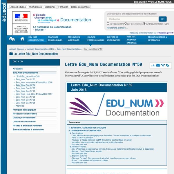 Lettre Édu_Num Documentation N°59 — Documentation (CDI)