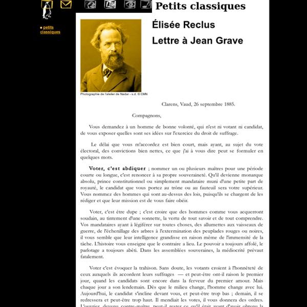 Lettre à Jean Grave, par Élisée Reclus (Voter c'est abdiquer) - Le MHM