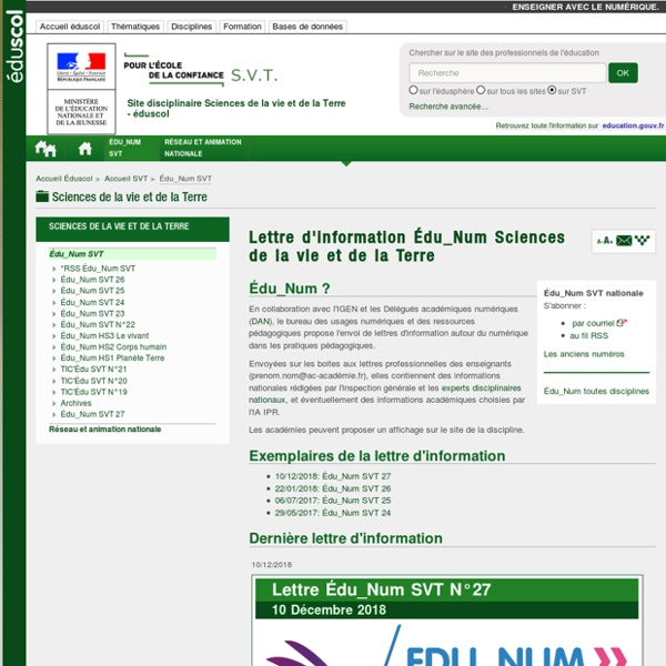 Lettre d'information Édu_Num Sciences de la vie et de la Terre — SVT