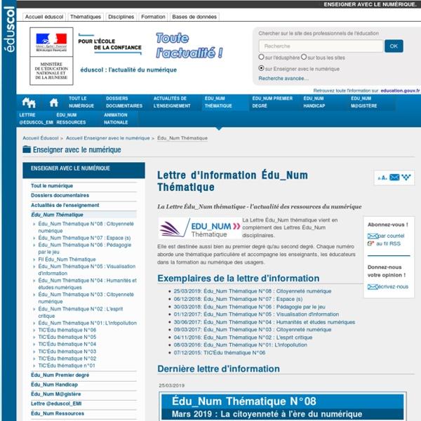Lettre d'information Édu_Num Thématique