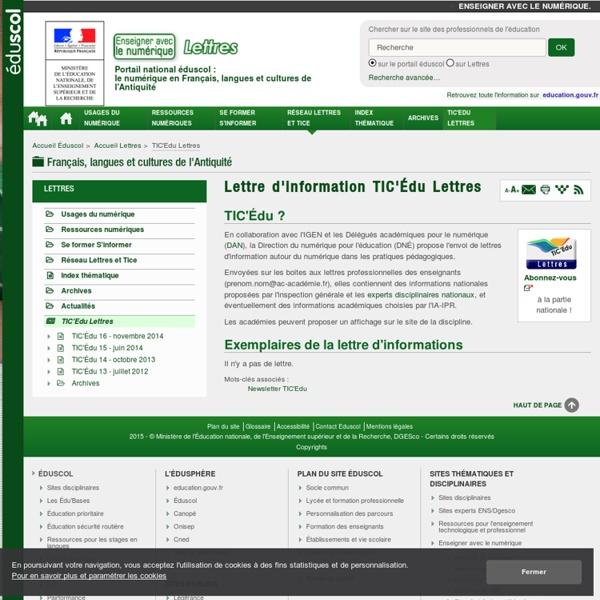 TIC'Édu Lettres — Lettres