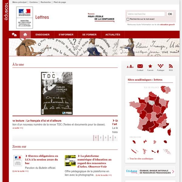 Français, langues et cultures de l'Antiquité — Lettres