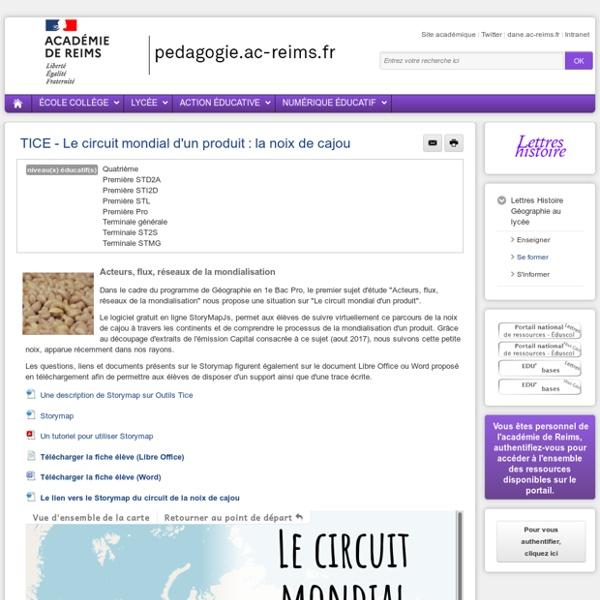 Se former Lettres-Histoire-Géographie lycée - TICE - Le circuit mondial d'un produit : la noix de cajou