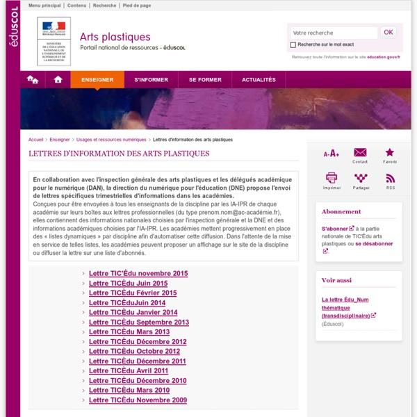 Lettres d'information des arts plastiques-Arts plastiques-Éduscol