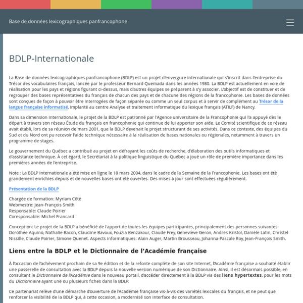 Base de données lexicographiques panfrancophone - Accueil