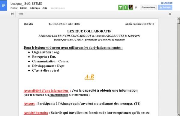 Lexique collaboratif de SCIENCES DE GESTION