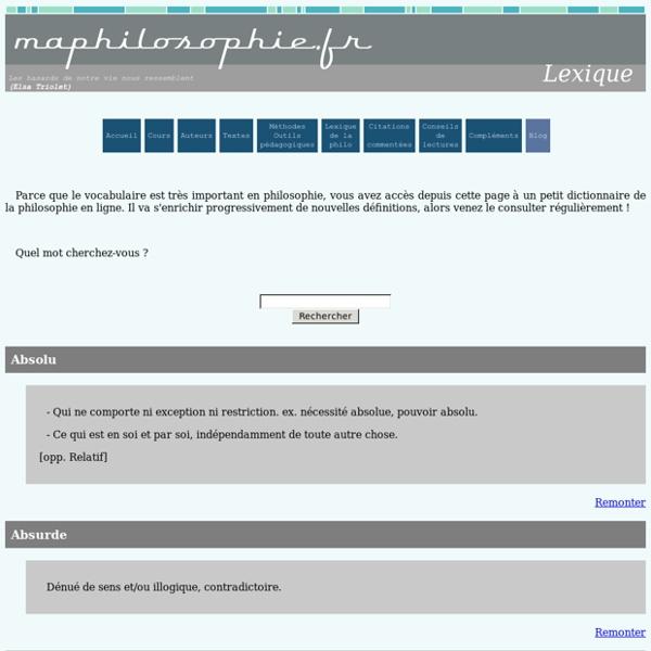 Lexique Maphilosophie.fr