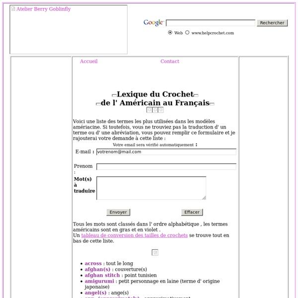 Lexique du crochet américain français