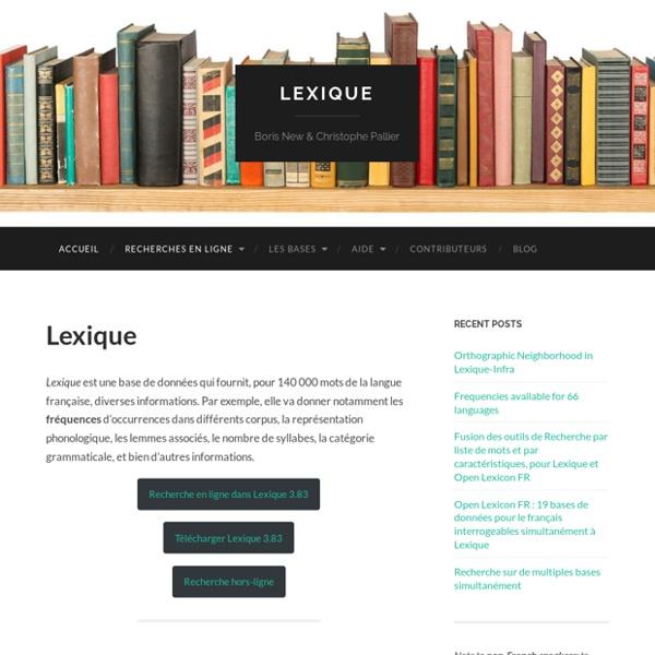 Lexique – Boris New & Christophe Pallier