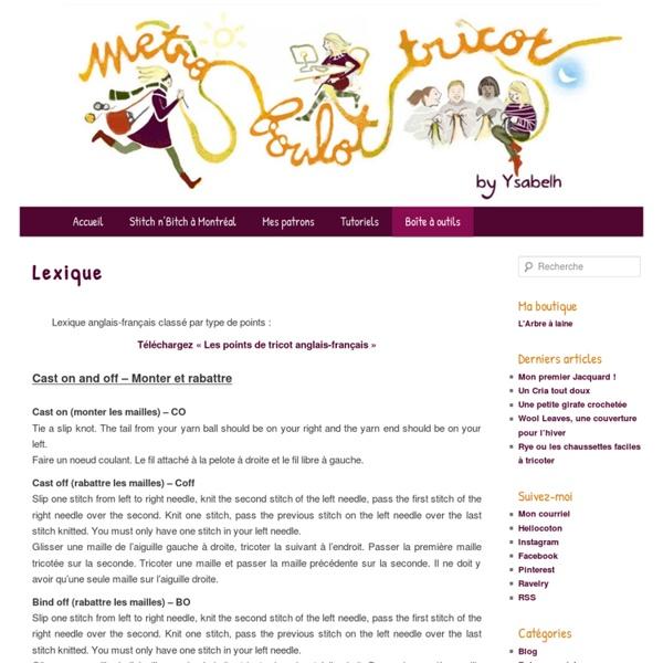 Lexique tricot anglais - français à télécharger