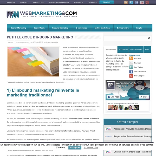 Petit lexique d'Inbound Marketing