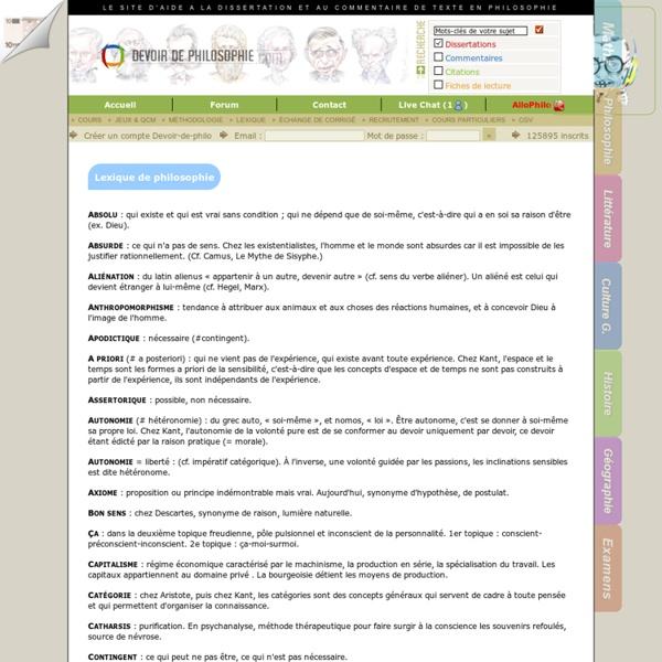 Lexique - Toutes les notions de philosophie é connaétre - Devoir-de-philosophie.com