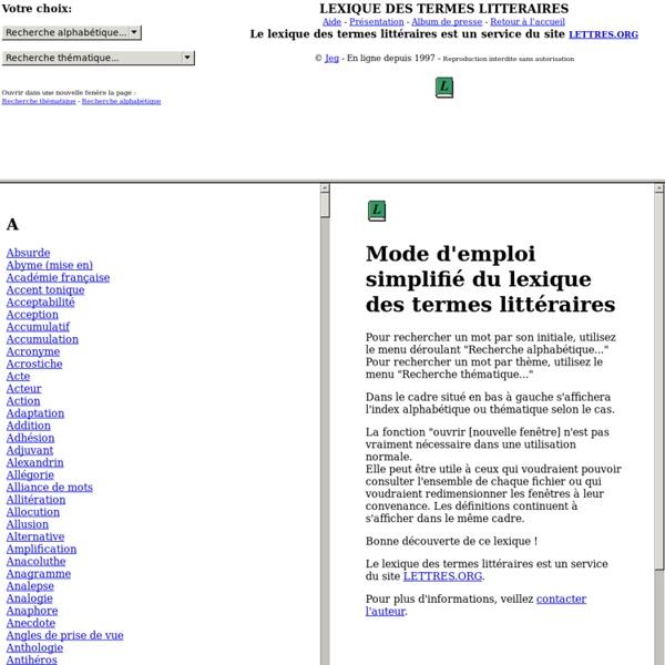 Lexique des termes littéraires © Jeg