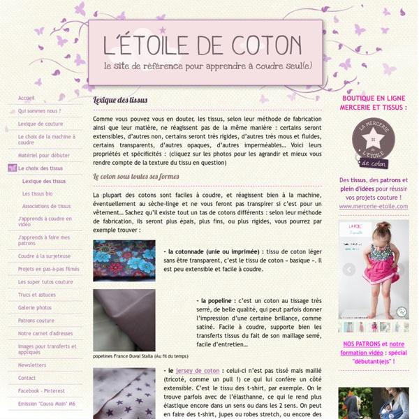 Lexique des tissus - Le site pour apprendre à coudre seul(e)! !