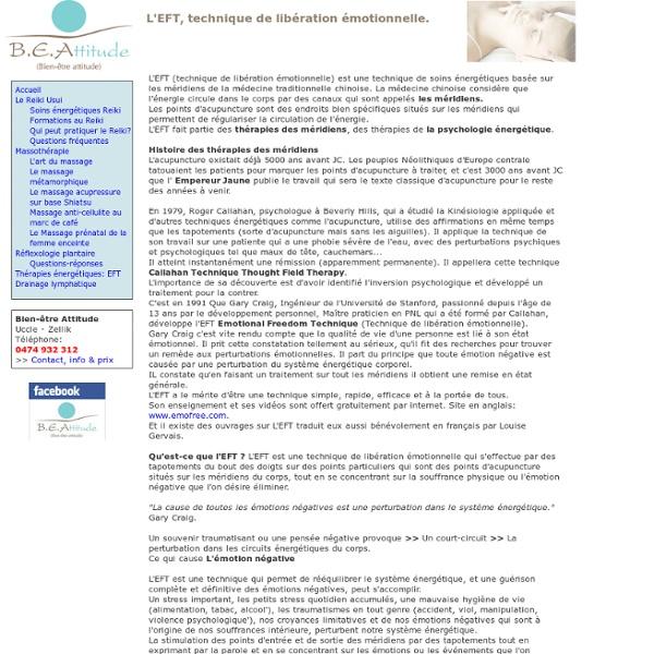 L'EFT, technique de libération émotionnelle - Bien-être Attitude - Bruxelles