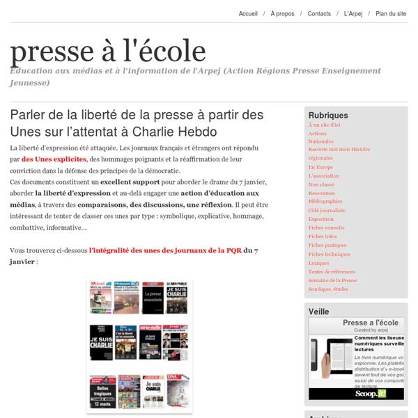 Parler de la liberté de la presse à partir des Unes sur l'attentat à Charlie Hebdo