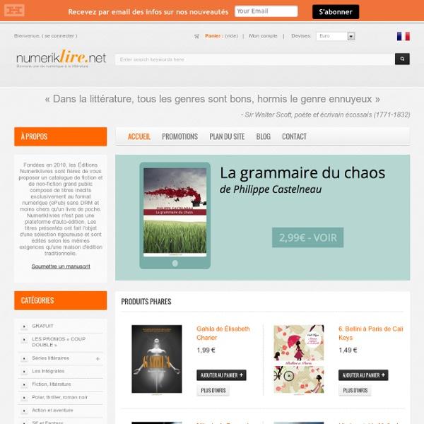Librairie en ligne des Éditions Numeriklivres - Les Éditions Numeriklivres