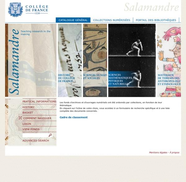 Libraries and Archives - Collège de France — Catalogue général